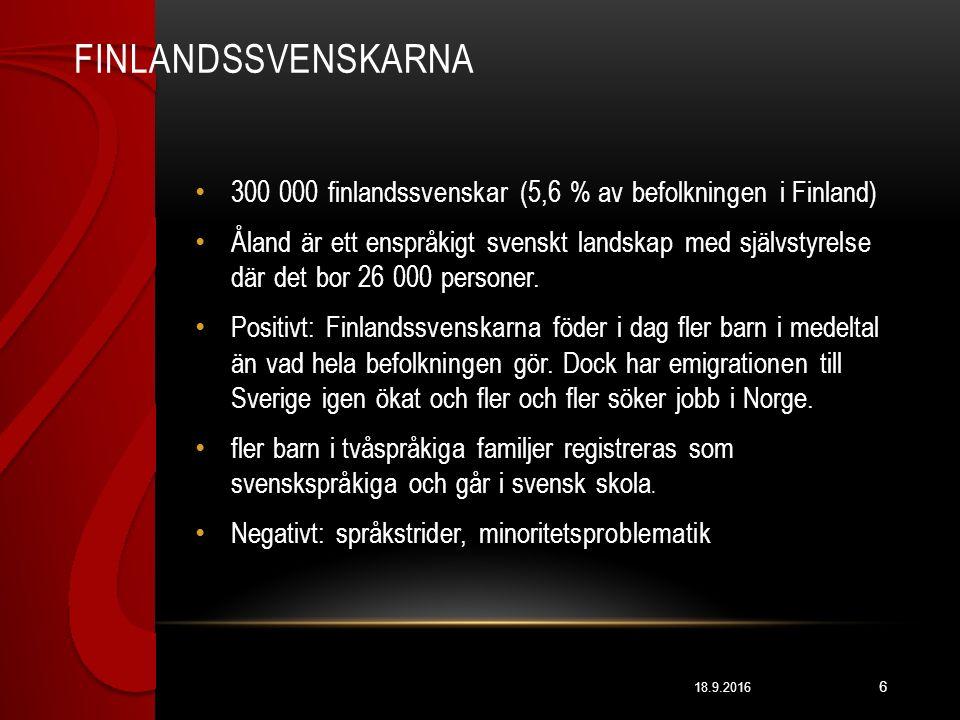 FINLANDSSVENSKARNA 18.9.2016 6 300 000 finlandssvenskar (5,6 % av befolkningen i Finland) Åland är ett enspråkigt svenskt landskap med självstyrelse där det bor 26 000 personer.