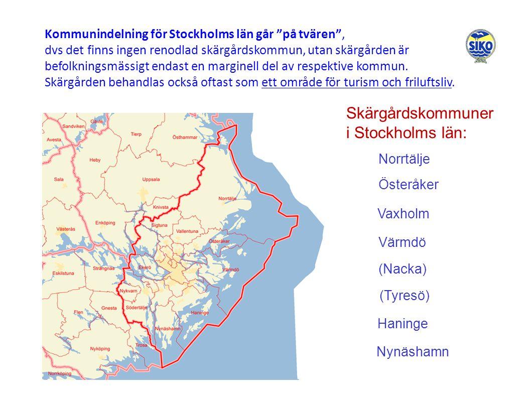 Kommunindelning för Stockholms län går på tvären , dvs det finns ingen renodlad skärgårdskommun, utan skärgården är befolkningsmässigt endast en marginell del av respektive kommun.