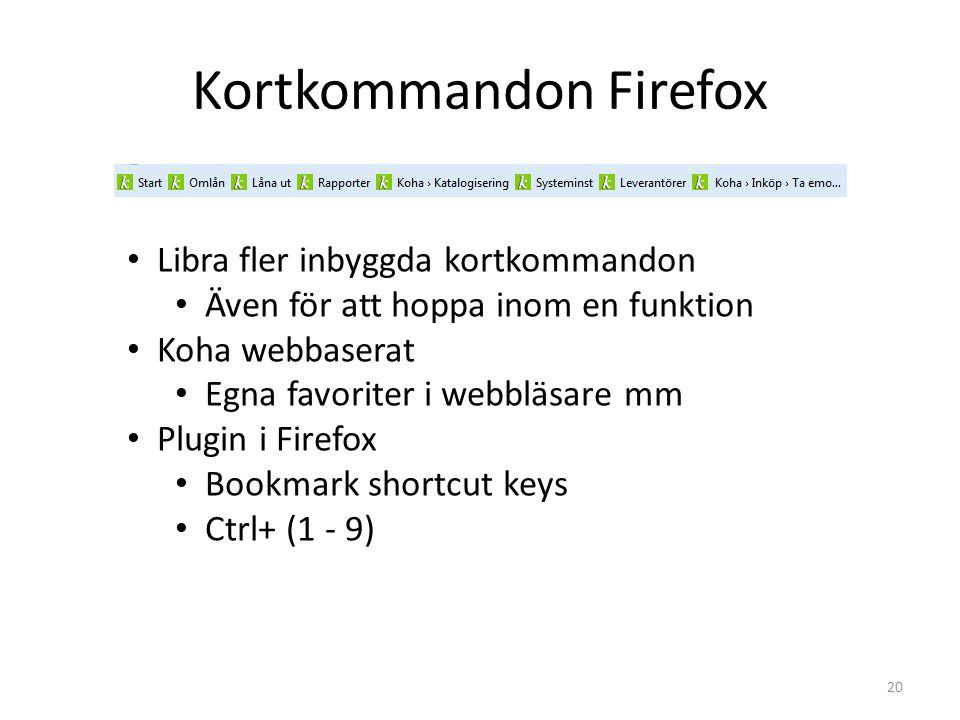 Kortkommandon Firefox Libra fler inbyggda kortkommandon Även för att hoppa inom en funktion Koha webbaserat Egna favoriter i webbläsare mm Plugin i Firefox Bookmark shortcut keys Ctrl+ (1 - 9) 20