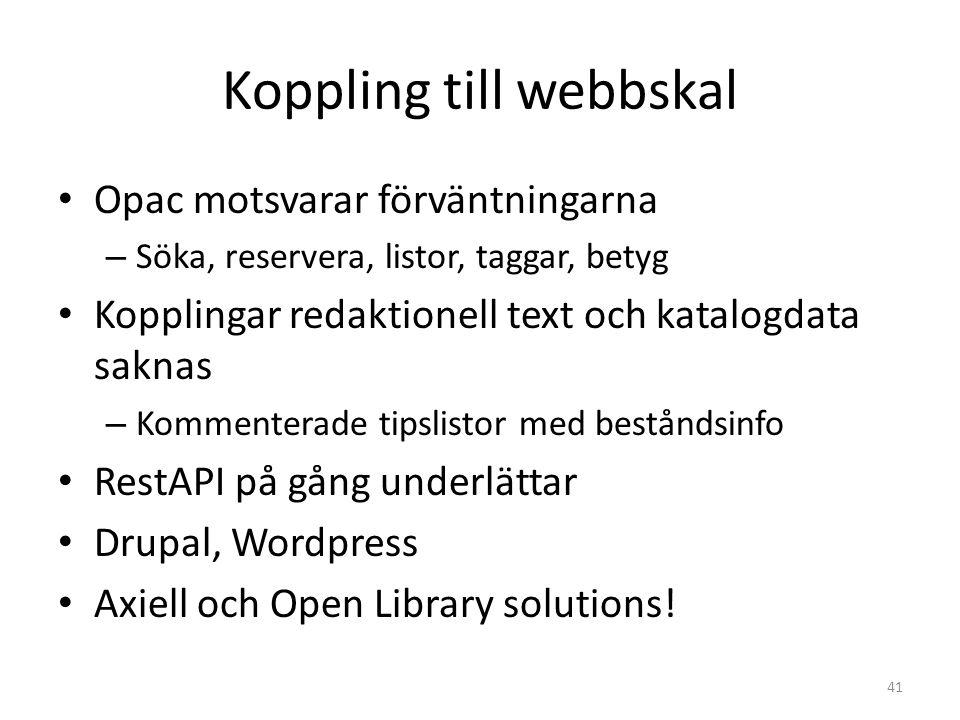 Koppling till webbskal Opac motsvarar förväntningarna – Söka, reservera, listor, taggar, betyg Kopplingar redaktionell text och katalogdata saknas – Kommenterade tipslistor med beståndsinfo RestAPI på gång underlättar Drupal, Wordpress Axiell och Open Library solutions.
