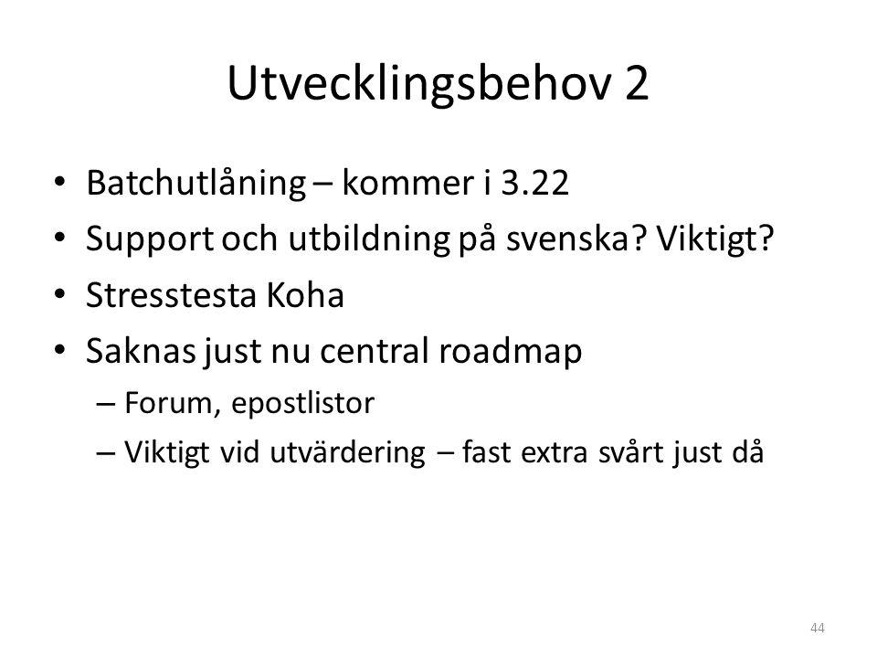Utvecklingsbehov 2 Batchutlåning – kommer i 3.22 Support och utbildning på svenska.