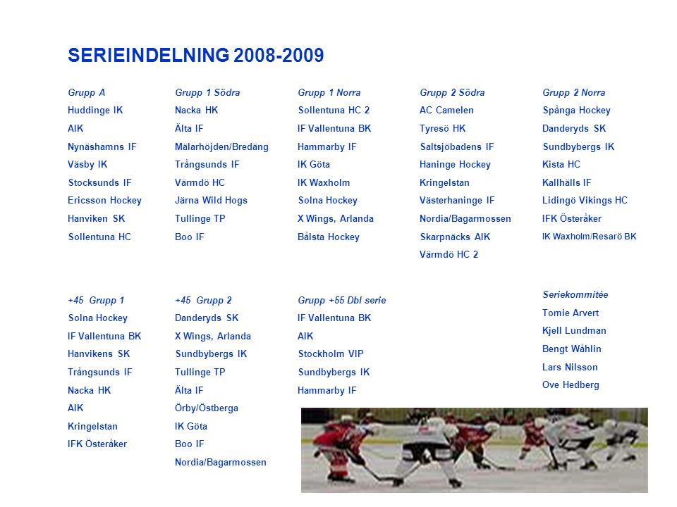 Grupp A Huddinge IK AIK Nynäshamns IF Väsby IK Stocksunds IF Ericsson Hockey Hanviken SK Sollentuna HC Grupp 1 Södra Nacka HK Älta IF Mälarhöjden/Bredäng Trångsunds IF Värmdö HC Järna Wild Hogs Tullinge TP Boo IF Grupp 1 Norra Sollentuna HC 2 IF Vallentuna BK Hammarby IF IK Göta IK Waxholm Solna Hockey X Wings, Arlanda Bålsta Hockey Grupp 2 Södra AC Camelen Tyresö HK Saltsjöbadens IF Haninge Hockey Kringelstan Västerhaninge IF Nordia/Bagarmossen Skarpnäcks AIK Värmdö HC 2 Grupp 2 Norra Spånga Hockey Danderyds SK Sundbybergs IK Kista HC Kallhälls IF Lidingö Vikings HC IFK Österåker IK Waxholm/Resarö BK SERIEINDELNING 2008-2009 +45 Grupp 1 Solna Hockey IF Vallentuna BK Hanvikens SK Trångsunds IF Nacka HK AIK Kringelstan IFK Österåker Grupp +55 Dbl serie IF Vallentuna BK AIK Stockholm VIP Sundbybergs IK Hammarby IF Seriekommitée Tomie Arvert Kjell Lundman Bengt Wåhlin Lars Nilsson Ove Hedberg +45 Grupp 2 Danderyds SK X Wings, Arlanda Sundbybergs IK Tullinge TP Älta IF Örby/Östberga IK Göta Boo IF Nordia/Bagarmossen