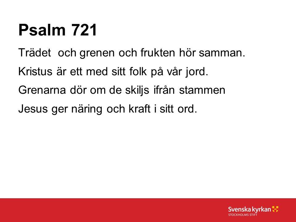 Psalm 721 Trädet och grenen och frukten hör samman. Kristus är ett med sitt folk på vår jord. Grenarna dör om de skiljs ifrån stammen Jesus ger näring