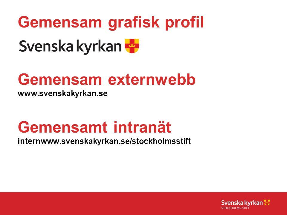 Gemensam grafisk profil Gemensam externwebb www.svenskakyrkan.se Gemensamt intranät internwww.svenskakyrkan.se/stockholmsstift