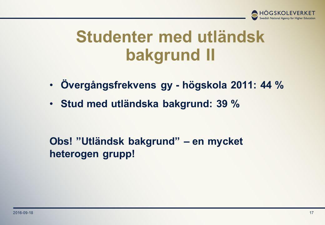 2016-09-1817 Studenter med utländsk bakgrund II Övergångsfrekvens gy - högskola 2011: 44 % Stud med utländska bakgrund: 39 % Obs.