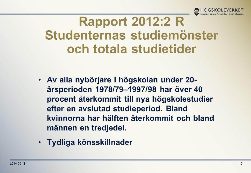 2016-09-1819 Rapport 2012:2 R Studenternas studiemönster och totala studietider Av alla nybörjare i högskolan under 20- årsperioden 1978/79–1997/98 har över 40 procent återkommit till nya högskolestudier efter en avslutad studieperiod.