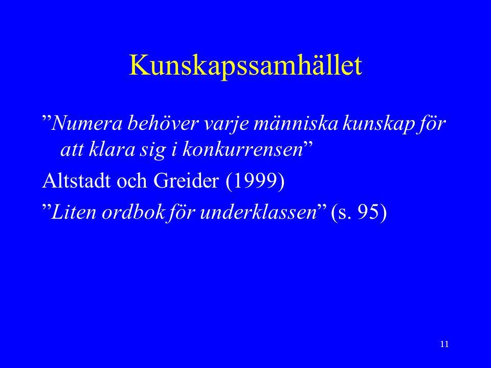 11 Kunskapssamhället Numera behöver varje människa kunskap för att klara sig i konkurrensen Altstadt och Greider (1999) Liten ordbok för underklassen (s.