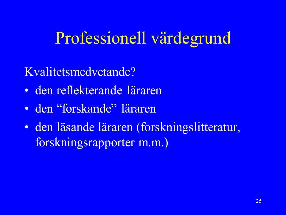 25 Professionell värdegrund Kvalitetsmedvetande.