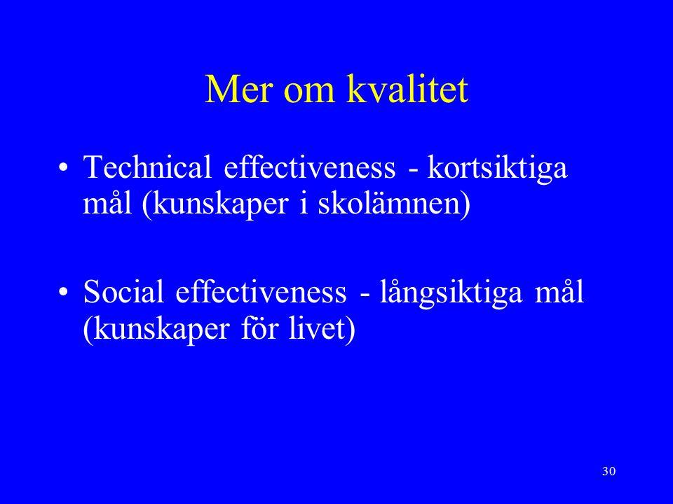 30 Mer om kvalitet Technical effectiveness - kortsiktiga mål (kunskaper i skolämnen) Social effectiveness - långsiktiga mål (kunskaper för livet)