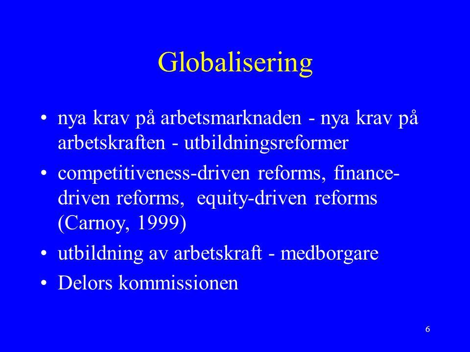 6 Globalisering nya krav på arbetsmarknaden - nya krav på arbetskraften - utbildningsreformer competitiveness-driven reforms, finance- driven reforms, equity-driven reforms (Carnoy, 1999) utbildning av arbetskraft - medborgare Delors kommissionen