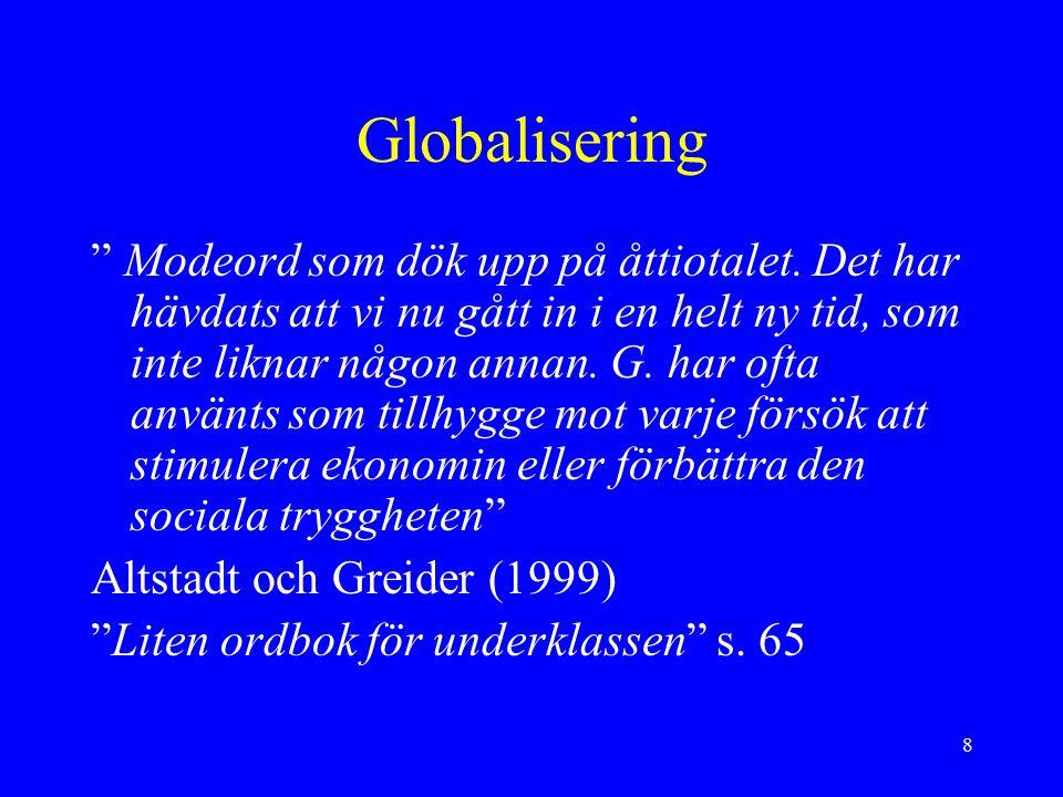 8 Globalisering Modeord som dök upp på åttiotalet.