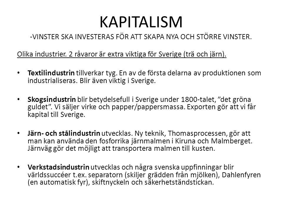KAPITALISM -VINSTER SKA INVESTERAS FÖR ATT SKAPA NYA OCH STÖRRE VINSTER.