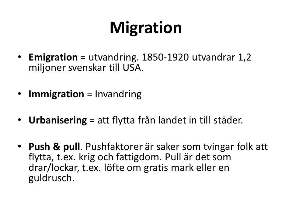 Migration Emigration = utvandring. 1850-1920 utvandrar 1,2 miljoner svenskar till USA.