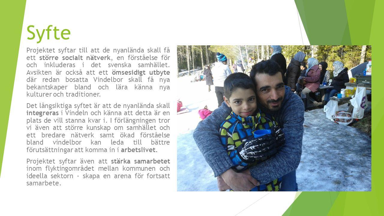 Syfte Projektet syftar till att de nyanlända skall få ett större socialt nätverk, en förståelse för och inkluderas i det svenska samhället.