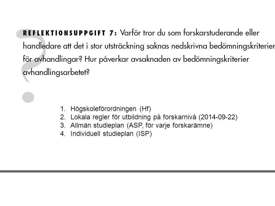 1.Högskoleförordningen (Hf) 2.Lokala regler för utbildning på forskarnivå (2014-09-22) 3.Allmän studieplan (ASP, för varje forskarämne) 4.Individuell studieplan (ISP)