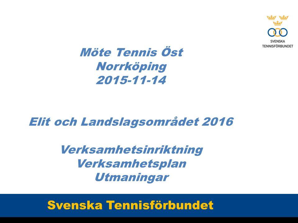 Möte Tennis Öst Norrköping 2015-11-14 Elit och Landslagsområdet 2016 Verksamhetsinriktning Verksamhetsplan Utmaningar Svenska Tennisförbundet