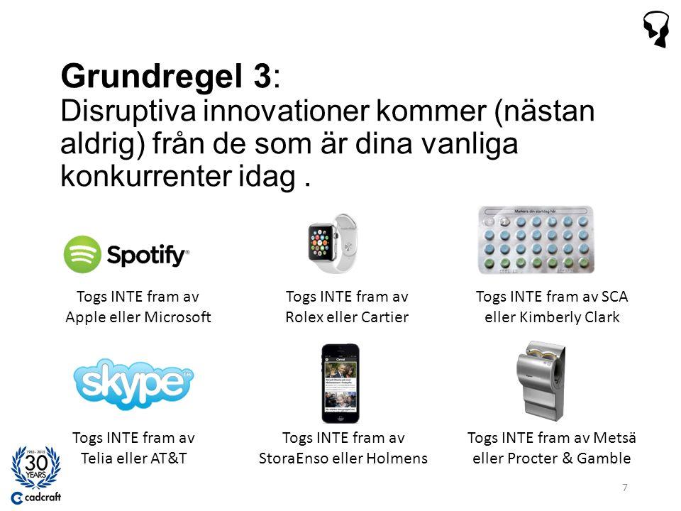 Grundregel 3: Disruptiva innovationer kommer (nästan aldrig) från de som är dina vanliga konkurrenter idag.