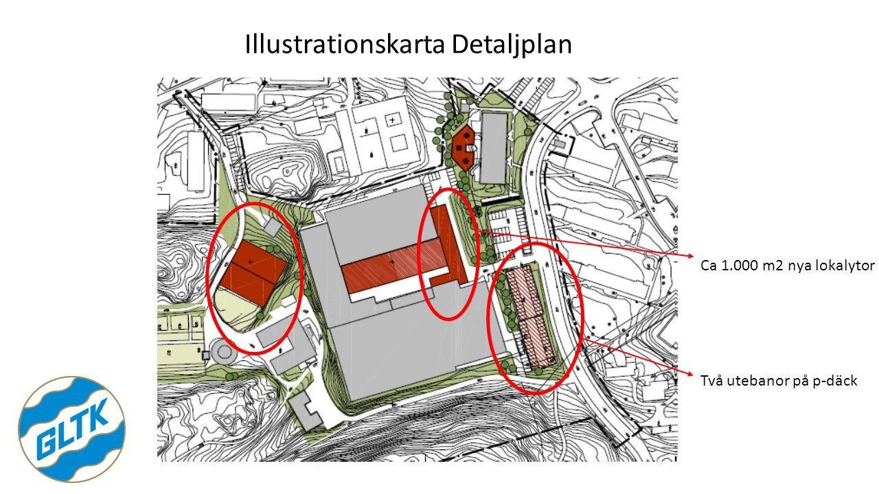 Illustrationskarta Detaljplan Två utebanor på p-däck Ca 1.000 m2 nya lokalytor
