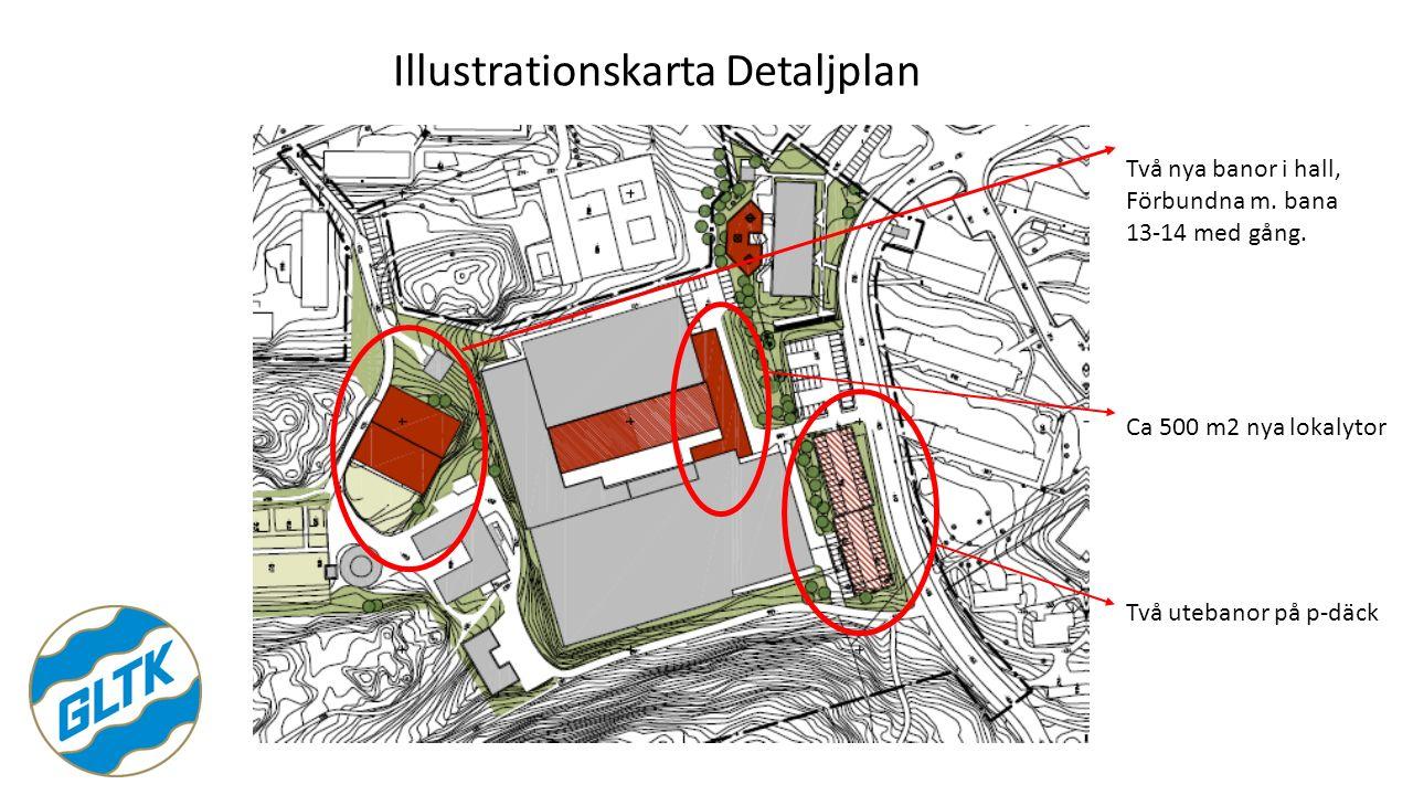 Illustrationskarta Detaljplan Två utebanor på p-däck Ca 500 m2 nya lokalytor Två nya banor i hall, Förbundna m. bana 13-14 med gång.