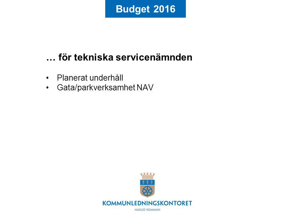 Budget 2016 … för tekniska servicenämnden Planerat underhåll Gata/parkverksamhet NAV
