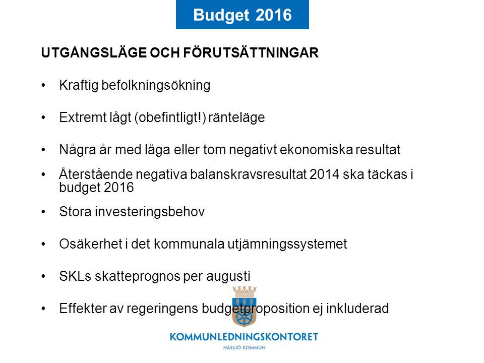 Budget 2016 Finansiering