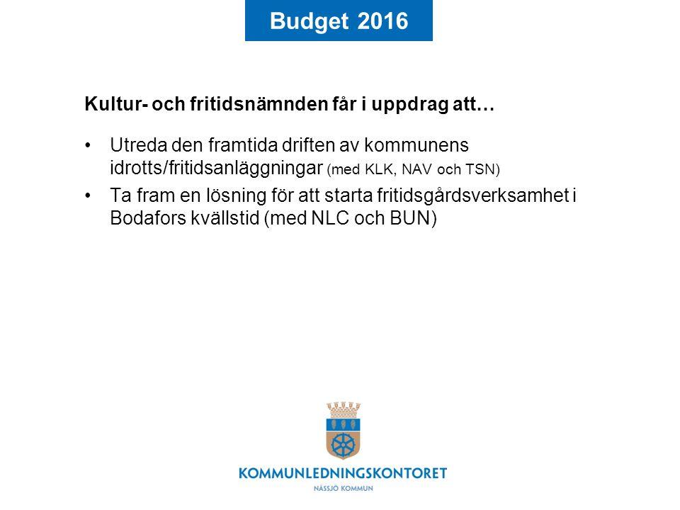 Budget 2016 Kultur- och fritidsnämnden får i uppdrag att… Utreda den framtida driften av kommunens idrotts/fritidsanläggningar (med KLK, NAV och TSN) Ta fram en lösning för att starta fritidsgårdsverksamhet i Bodafors kvällstid (med NLC och BUN)