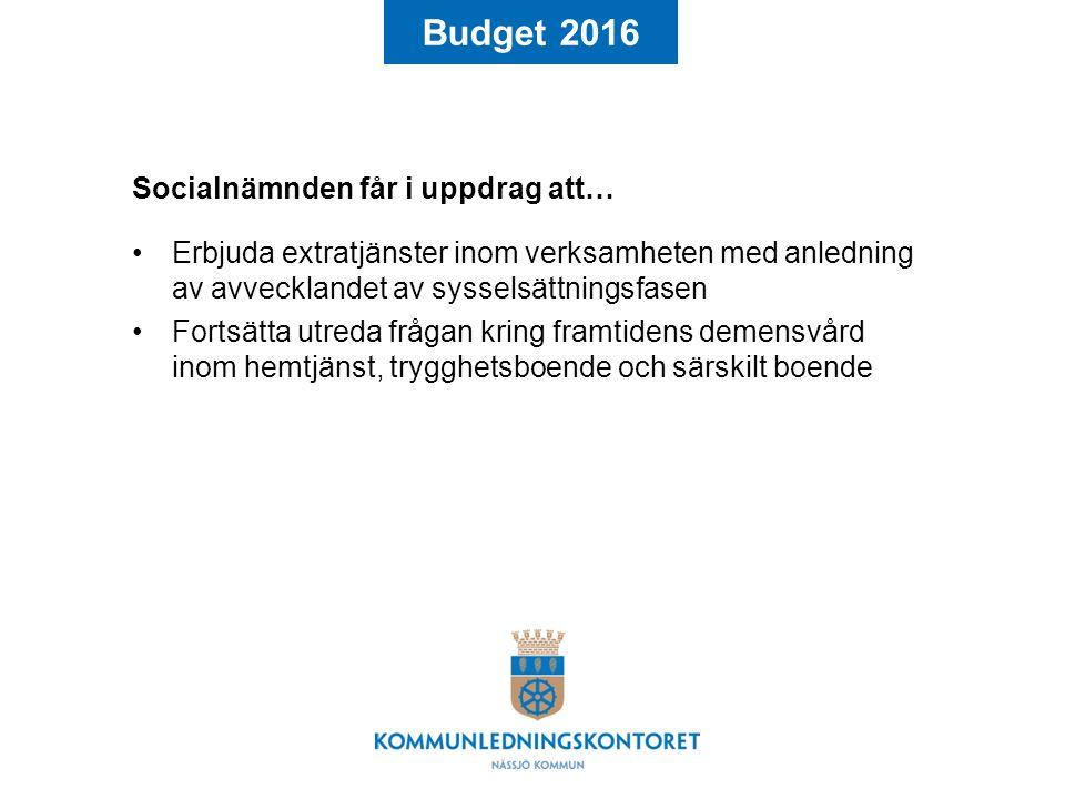 Budget 2016 Socialnämnden får i uppdrag att… Erbjuda extratjänster inom verksamheten med anledning av avvecklandet av sysselsättningsfasen Fortsätta utreda frågan kring framtidens demensvård inom hemtjänst, trygghetsboende och särskilt boende