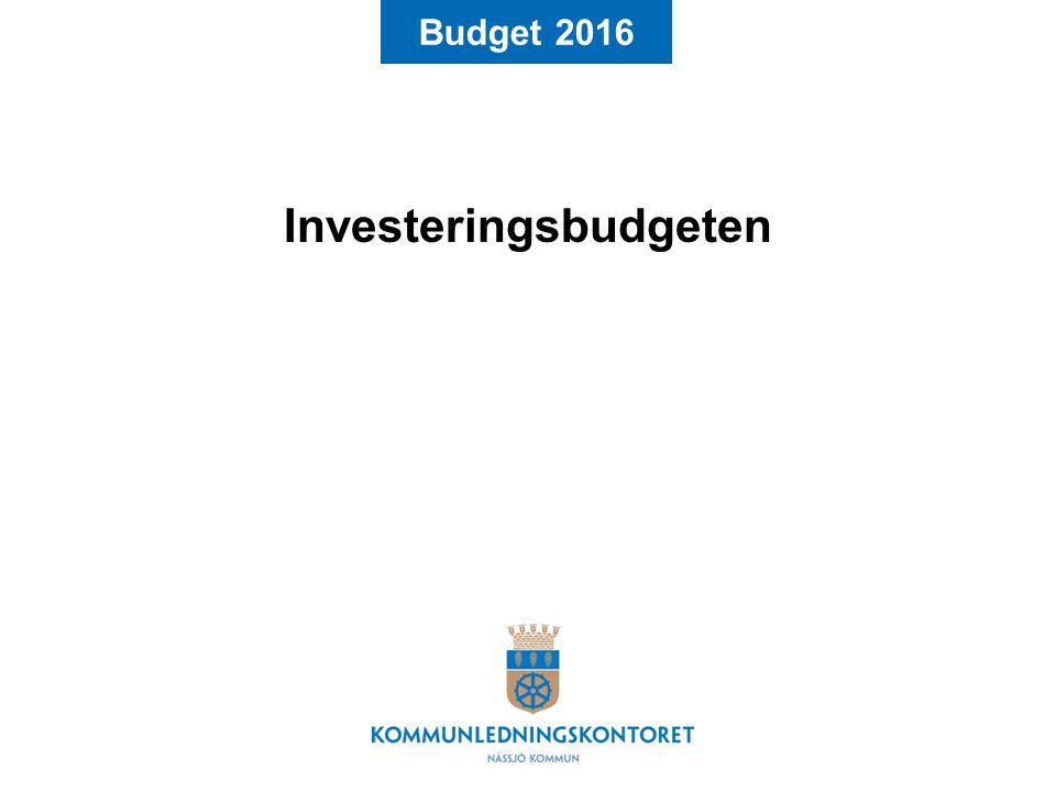 Budget 2016 Investeringsbudgeten