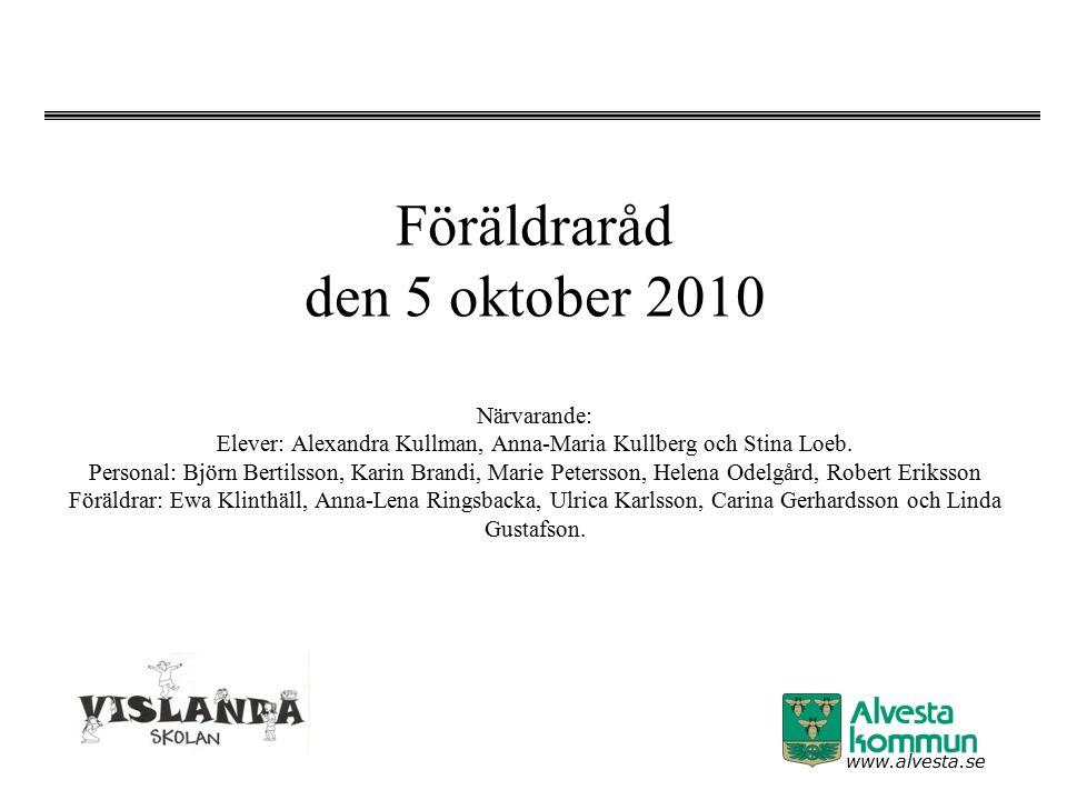www.alvesta.se Föräldraråd den 5 oktober 2010 Närvarande: Elever: Alexandra Kullman, Anna-Maria Kullberg och Stina Loeb. Personal: Björn Bertilsson, K