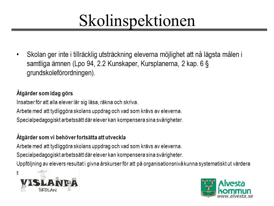 www.alvesta.se Skolinspektionen Skolan ger inte i tillräcklig utsträckning eleverna möjlighet att nå lägsta målen i samtliga ämnen (Lpo 94, 2.2 Kunska