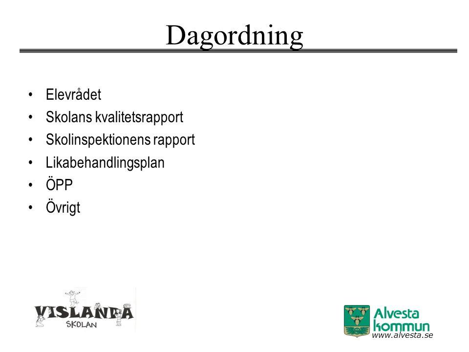 www.alvesta.se Dagordning Elevrådet Skolans kvalitetsrapport Skolinspektionens rapport Likabehandlingsplan ÖPP Övrigt