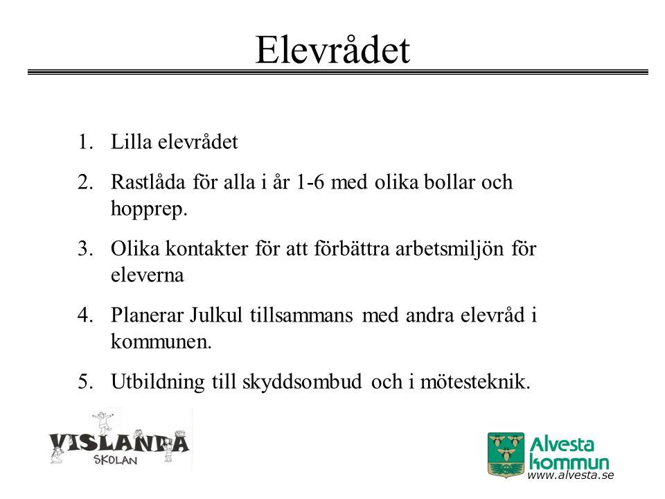 www.alvesta.se Elevrådet 1.Lilla elevrådet 2.Rastlåda för alla i år 1-6 med olika bollar och hopprep. 3.Olika kontakter för att förbättra arbetsmiljön
