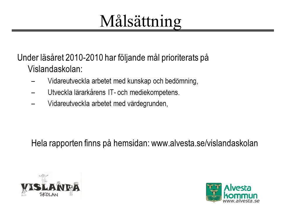 www.alvesta.se Målsättning Under läsåret 2010-2010 har följande mål prioriterats på Vislandaskolan: –Vidareutveckla arbetet med kunskap och bedömning, –Utveckla lärarkårens IT- och mediekompetens.