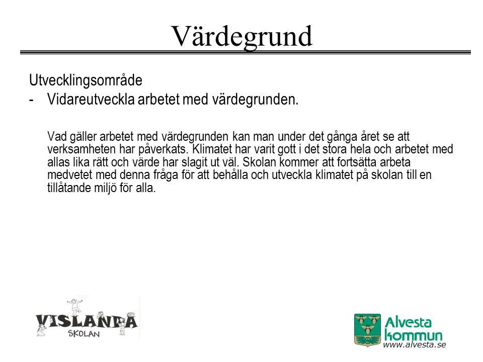 www.alvesta.se Värdegrund Utvecklingsområde -Vidareutveckla arbetet med värdegrunden. Vad gäller arbetet med värdegrunden kan man under det gånga året