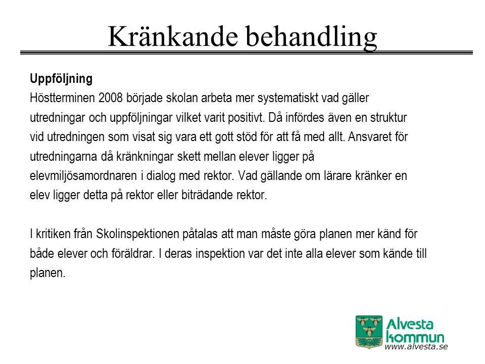 www.alvesta.se Kränkande behandling Uppföljning Höstterminen 2008 började skolan arbeta mer systematiskt vad gäller utredningar och uppföljningar vilk