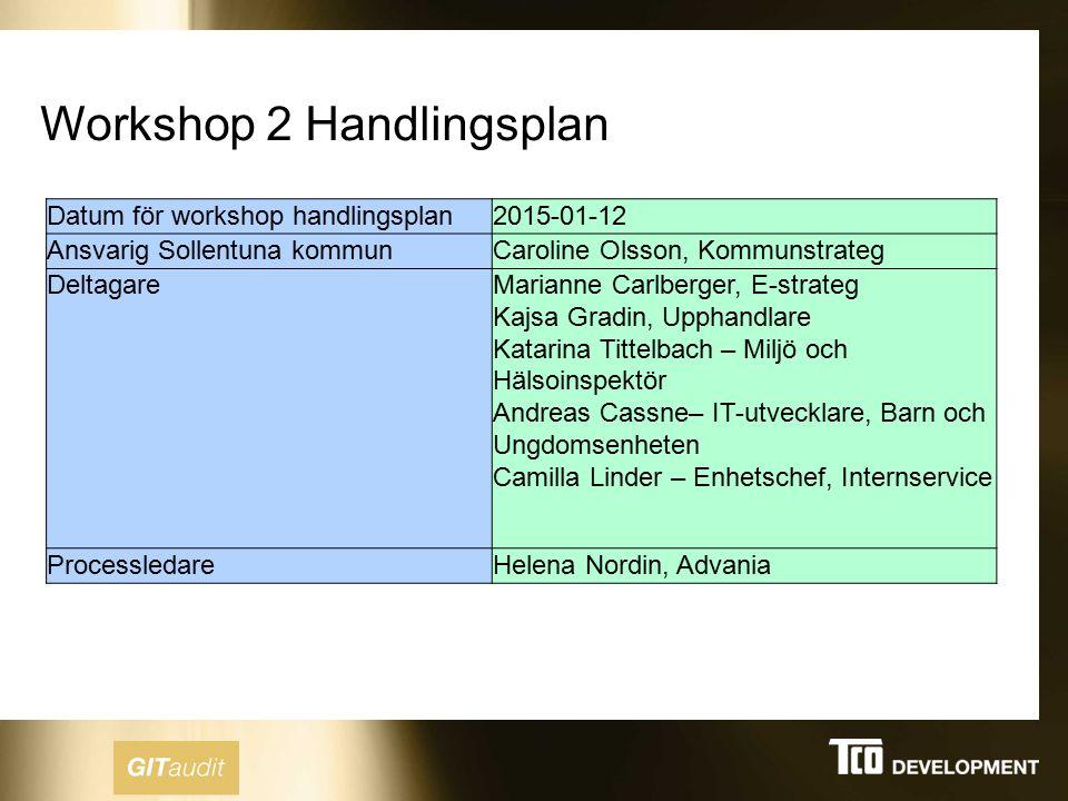 Workshop 2 Handlingsplan Datum för workshop handlingsplan2015-01-12 Ansvarig Sollentuna kommunCaroline Olsson, Kommunstrateg DeltagareMarianne Carlber