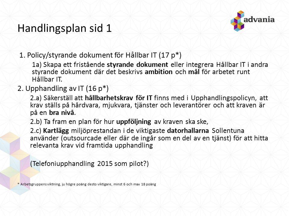 Handlingsplan sid 1 1. Policy/styrande dokument för Hållbar IT (17 p*) 1a) Skapa ett fristående styrande dokument eller integrera Hållbar IT i andra s
