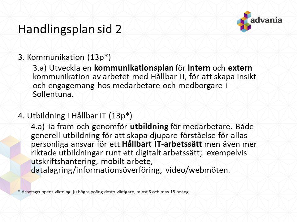 Handlingsplan sid 2 3. Kommunikation (13p*) 3.a) Utveckla en kommunikationsplan för intern och extern kommunikation av arbetet med Hållbar IT, för att