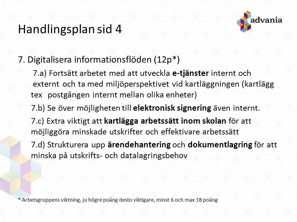 Handlingsplan sid 4 7. Digitalisera informationsflöden (12p*) 7.a) Fortsätt arbetet med att utveckla e-tjänster internt och externt och ta med miljöpe