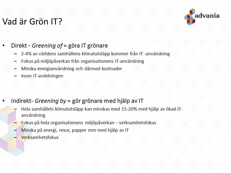 Vad är Grön IT? Direkt - Greening of = göra IT grönare – 2-4% av världens samhällens klimatutsläpp kommer från IT -användning – Fokus på miljöpåverkan