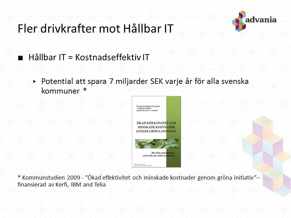 Fler drivkrafter mot Hållbar IT ■ Hållbar IT = Kostnadseffektiv IT ▸ Potential att spara 7 miljarder SEK varje år för alla svenska kommuner * * Kommun