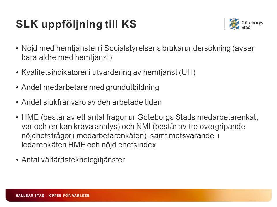SLK uppföljning till KS HÅLLBAR STAD – ÖPPEN FÖR VÄRLDEN Nöjd med hemtjänsten i Socialstyrelsens brukarundersökning (avser bara äldre med hemtjänst) Kvalitetsindikatorer i utvärdering av hemtjänst (UH) Andel medarbetare med grundutbildning Andel sjukfrånvaro av den arbetade tiden HME (består av ett antal frågor ur Göteborgs Stads medarbetarenkät, var och en kan kräva analys) och NMI (består av tre övergripande nöjdhetsfrågor i medarbetarenkäten), samt motsvarande i ledarenkäten HME och nöjd chefsindex Antal välfärdsteknologitjänster