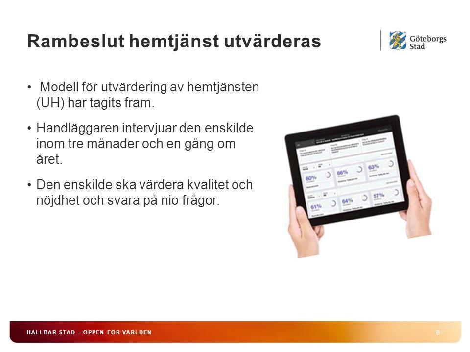 Rambeslut hemtjänst utvärderas 8 HÅLLBAR STAD – ÖPPEN FÖR VÄRLDEN Modell för utvärdering av hemtjänsten (UH) har tagits fram.