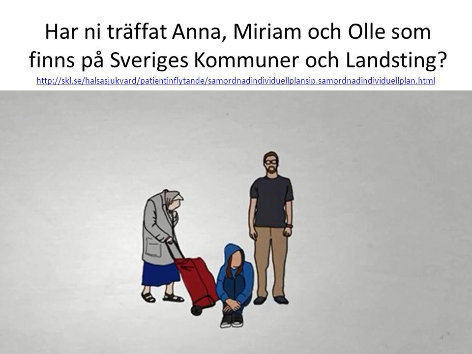 Har ni träffat Anna, Miriam och Olle som finns på Sveriges Kommuner och Landsting? 4 http://skl.se/halsasjukvard/patientinflytande/samordnadindividuel