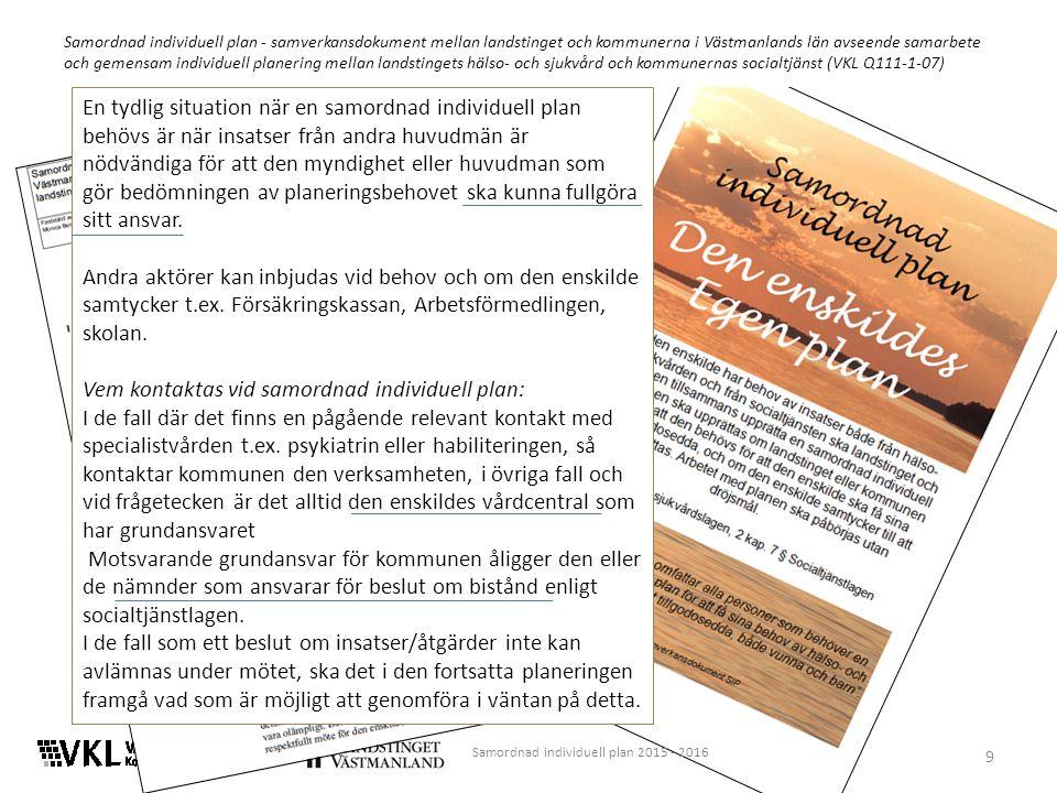 9 Samordnad individuell plan - samverkansdokument mellan landstinget och kommunerna i Västmanlands län avseende samarbete och gemensam individuell planering mellan landstingets hälso- och sjukvård och kommunernas socialtjänst (VKL Q111-1-07) En tydlig situation när en samordnad individuell plan behövs är när insatser från andra huvudmän är nödvändiga för att den myndighet eller huvudman som gör bedömningen av planeringsbehovet ska kunna fullgöra sitt ansvar.