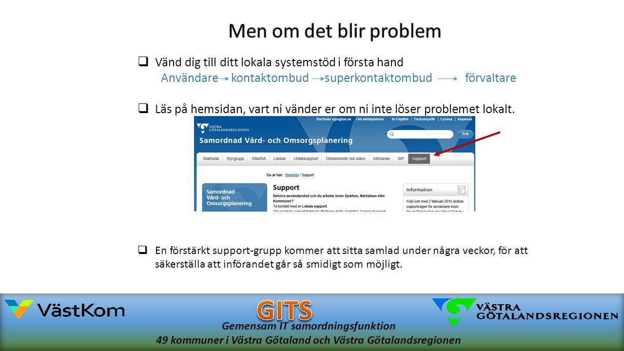 Gemensam IT samordningsfunktion 49 kommuner i Västra Götaland och Västra Götalandsregionen  Vänd dig till ditt lokala systemstöd i första hand Användarekontaktombudsuperkontaktombudförvaltare  Läs på hemsidan, vart ni vänder er om ni inte löser problemet lokalt.