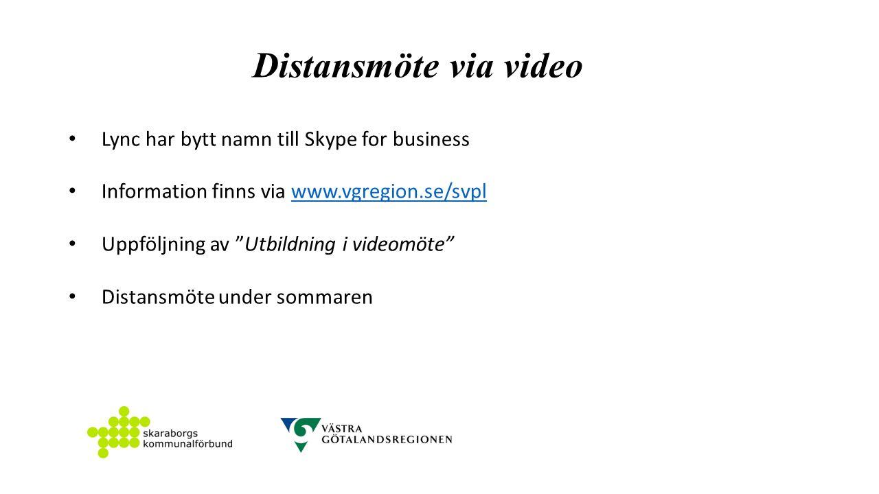 Distansmöte via video Lync har bytt namn till Skype for business Information finns via www.vgregion.se/svplwww.vgregion.se/svpl Uppföljning av Utbildning i videomöte Distansmöte under sommaren