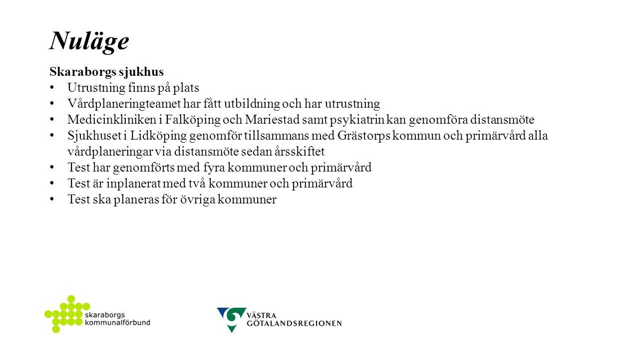 Nuläge Skaraborgs sjukhus Utrustning finns på plats Vårdplaneringteamet har fått utbildning och har utrustning Medicinkliniken i Falköping och Mariestad samt psykiatrin kan genomföra distansmöte Sjukhuset i Lidköping genomför tillsammans med Grästorps kommun och primärvård alla vårdplaneringar via distansmöte sedan årsskiftet Test har genomförts med fyra kommuner och primärvård Test är inplanerat med två kommuner och primärvård Test ska planeras för övriga kommuner