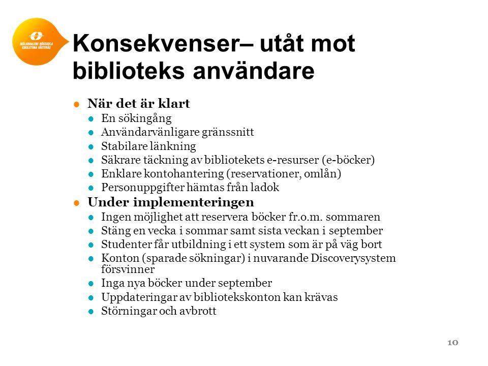 Konsekvenser– utåt mot biblioteks användare ●När det är klart ●En sökingång ●Användarvänligare gränssnitt ●Stabilare länkning ●Säkrare täckning av bib