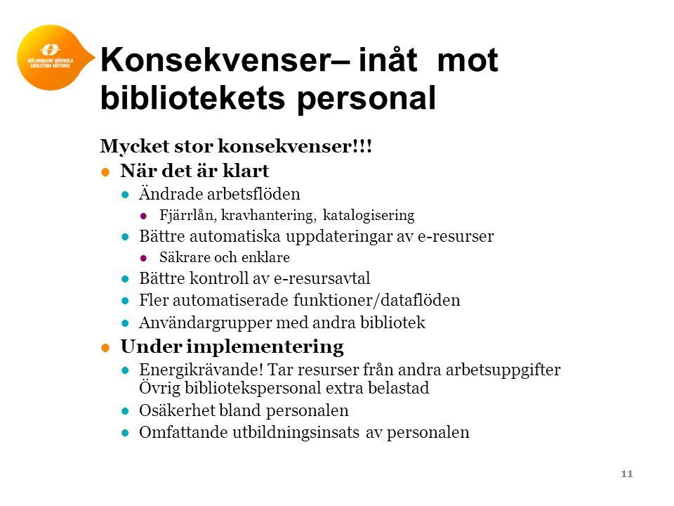Konsekvenser– inåt mot bibliotekets personal Mycket stor konsekvenser!!! ●När det är klart ●Ändrade arbetsflöden ●Fjärrlån, kravhantering, katalogiser